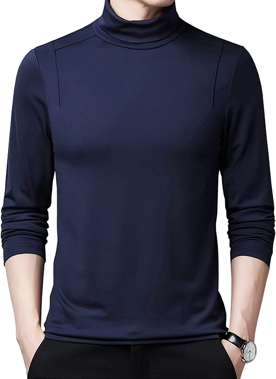 LZJDS Mens Thermal Baselayer Top - Modal Cotton Sweater Roll Neck Jumper Breathable Quick Drying & Fitted Sleeves - for Everyday Use,Blue,175