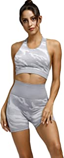 Toplook Women Seamless Camouflage Workout Outfit Set Yoga Shorts Bra 2 Pieces