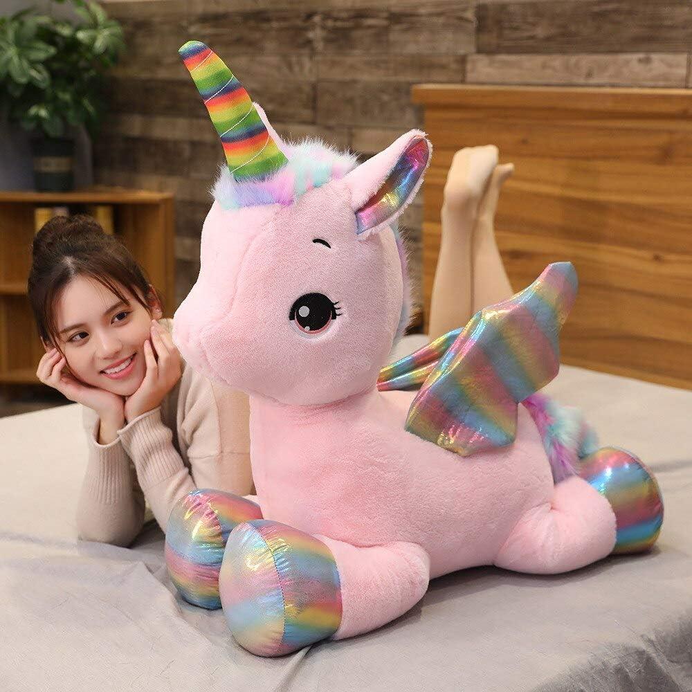 RJGLKS Juguete de Peluche de Unicornio de tamaño Gigante, alas de arcoíris, muñeco de Unicornio Relleno, Caballo, Juguete para niña, cumpleaños, 100 cm, Rosa