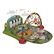 Baby Gym Play Mat by cinice - Jungle Theme Soft Blanket with Musical Keyboard, Animal Mobile Rings on an Arch with a Mirror - Activities for 0-18 Months Boys and Girls