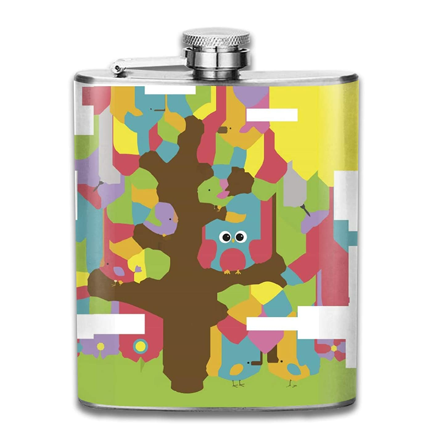 FTRGRAFE Summer Owl Tree Outdoor Portable 304 Stainless Steel Leak-Proof Alcohol Whiskey Liquor Wine 7OZ Pot Hip Flask Travel Camping Flagon for Man Woman Flask Great Little Gift
