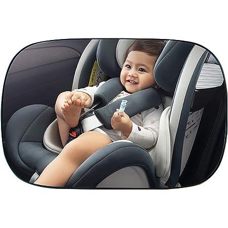 Espejo Retrovisor Coche, CompraFun Espejo Coche Bebé para Vigilar Asientos Trasero, Borde Estrecho de Pantalla Completa 360° Rotación Espejo sin Vidrio Seguro para Niño