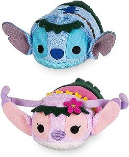 "Tsum Tsum Disney Store Mini Special Hawaii Set of 2 Stitch and Angel 3.5"" Plush Toys"