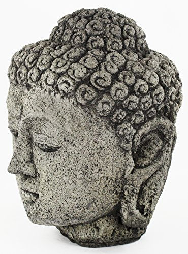 Fleur de Lis Garden Ornaments LLC Buddha Head Large Concrete Statue Cement Carved Buddha Head