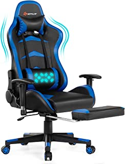 POWERSTONE Massage Gaming Chair with Footrest - Ergonomic Office Computer Game Racing E-Sports Chair Lumbar Massage Pillow...