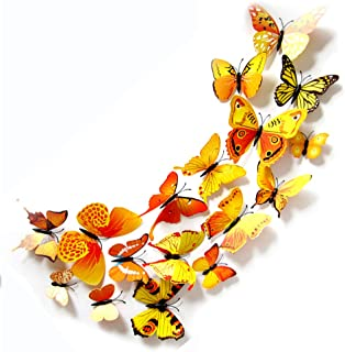 JYPHM 24PCS Butterfly Wall Decal Removable Refrigerator Magnets Mural Stickers 3D Wall Stickers for Kids Home Room Nursery...
