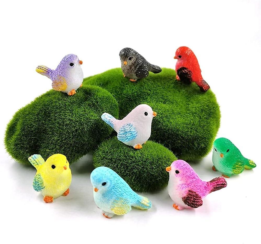 LEBERY 8pcs Mini Bird Figurines, Birds Cake Topper Cupcake Topper, Miniature Bird Figures Toy Playset, Birds Cake Decoration for Kids Birthday Baby Shower Party Supplies