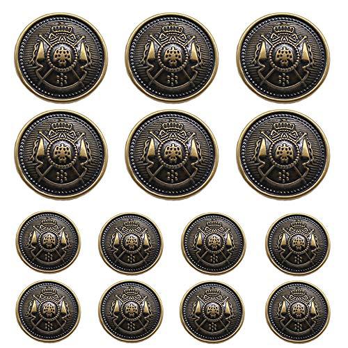ByaHoGa 14 Stück bronzefarbene Kunststoff Knöpfe 20mm 15mm Metallknöpfe für anzüge jacken mäntel uniform (MB20170)