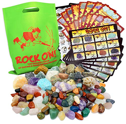 ROCK ON! Geology Game with Rock Collection – Collect and Learn with STEM-based Educational Science Kit - Amethyst, Rhodonite, Selenite Crystal, Unakite and lots more