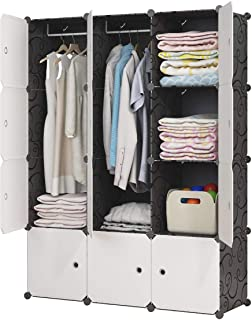 KOUSI Portable Closet Wardrobe Closet Clothes Closet Bedroom Armoire Storage Organizer with Doors, Spacious & Sturdy, Extra Space & Durable Black, 6 Cubes 2 Hanging Clothes