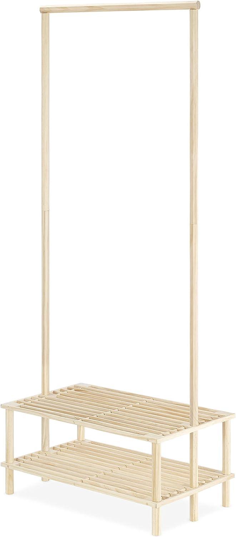 Whitmor 永遠の定番 Wood Shelves 本物 Garment Rack Natural