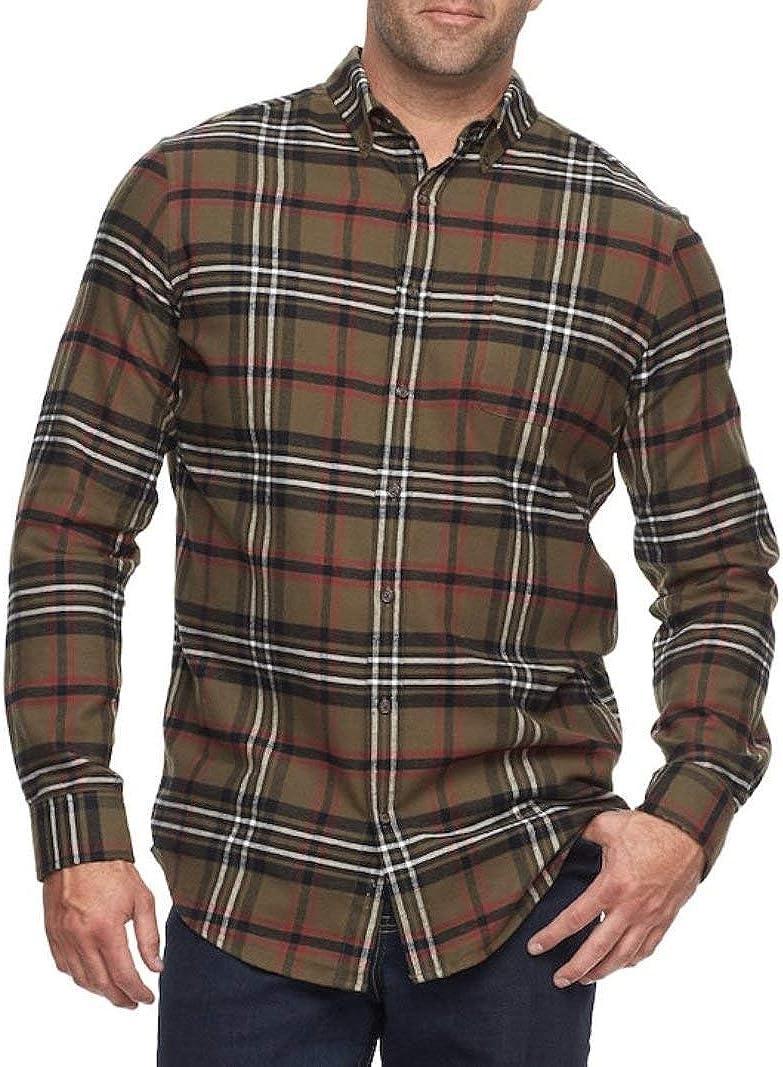 Croft & Barrow Mens Classic Fit Flannel Shirt Olive Green Tartan Plaid