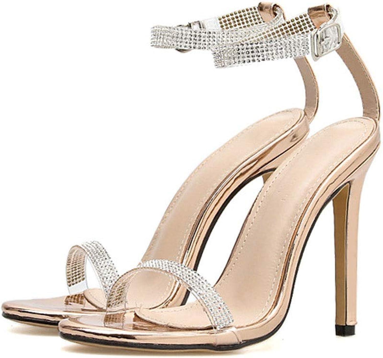 FELICIOO Frauen High Heel Strass Sandalen sexy High Heels (Farbe   Champagner, Größe   40)