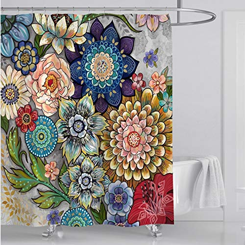 Boho Floral Shower Curtain Set Bathroom Flower Decorative Durable Waterproof Fabric Polyester Bath Curtains Kit 72 x 72 Inches with 12 Pcs Hooks