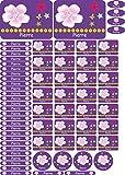INDIGOS UG® Namensaufkleber Sticker - A4-Bogen 69 pegatinas para la escuela, guardería, cuadernos, libros - lápices, Federmappe, reglas, también para adultos - individueller impresos, color 081 - Flor