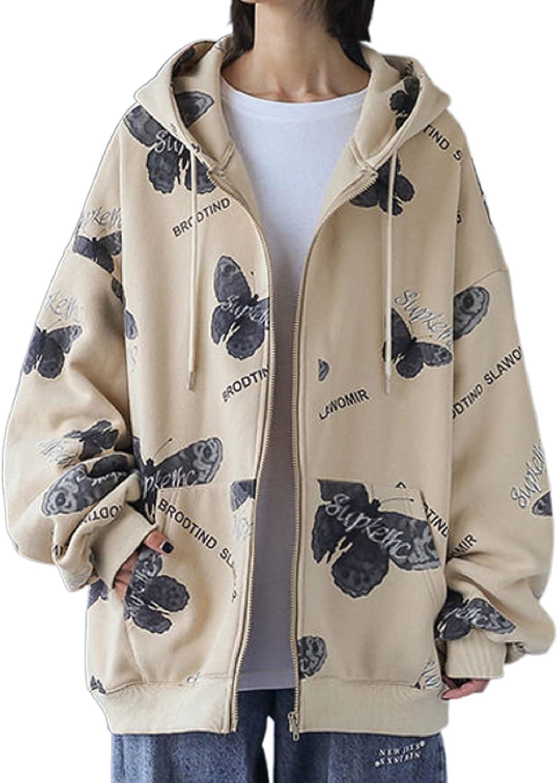Women's Y2K Zip Up Hoodie Jacket Butterfly Print Casual Oversized Long Sleeve Sweatshirt Coat Streetwear