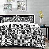 ropa de cama - Juego de funda nórdica, abstracto, patrón asimétrico en escala de grises, teselación óptica con formas superpuestas, negro gris W, juego de funda nórdica de microfibra con 2 fundas de a