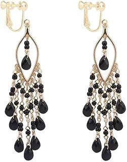 Long Boho Beaded Teadrop Tassels Clip on Dangle Earrings Back Screw Jewelry for Women Girls