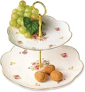 YBK Tech 2 Tier Porcelain Bone China Serving Platter Cake Plate Stand Dessert Display Cakes Platter Food Rack - Floral Design (Pattern I)