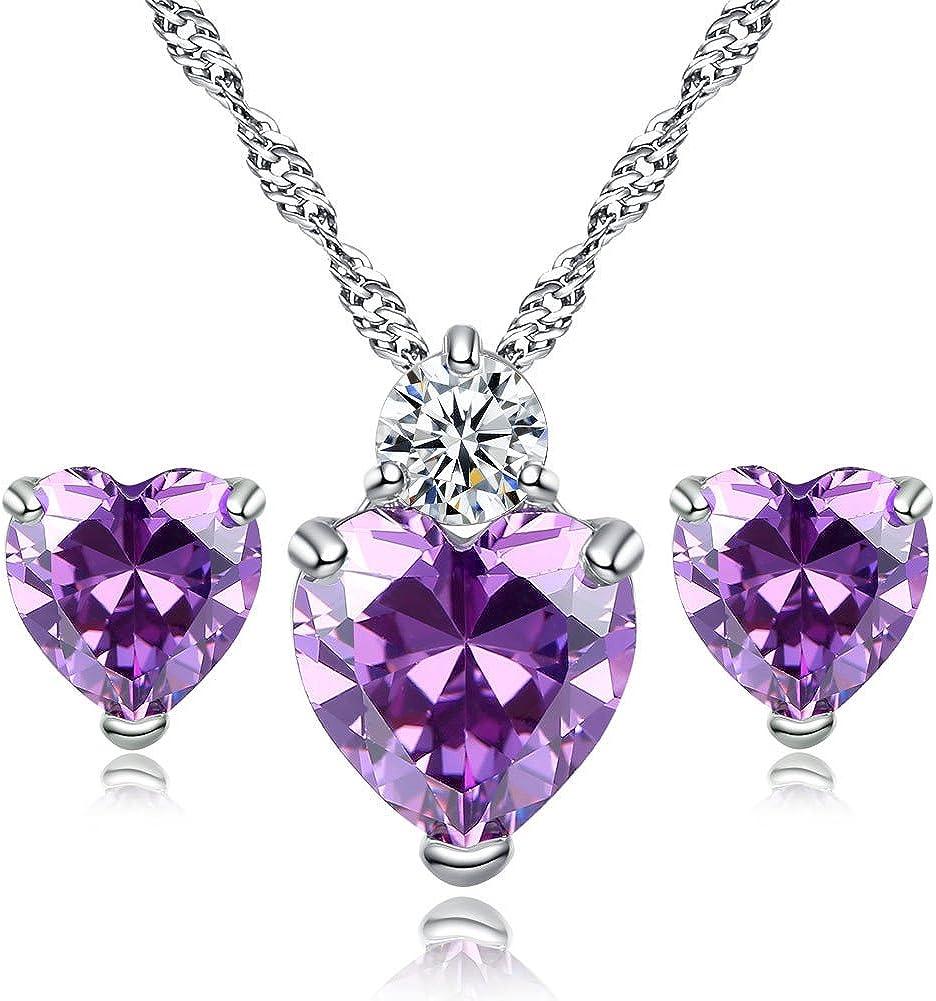 Godyce Heart Amethyst Pendant Necklace and Earrings Women Girl Purple 18k Gold Plated Jewelry