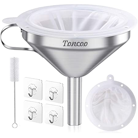 Toncoo 5-Inch Premium Stainless Steel Funnel with 200 Mesh Food Filter Strainer, Food Grade Kitchen Funnels for Filling Bottles, Metal Funnel with Strainer, Food Funnel for Kitchen