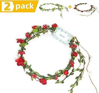 JOY'S DAY Adjustable Flower Crown Floral Wreath Headband Floral Garland Headbands photo props (Red)