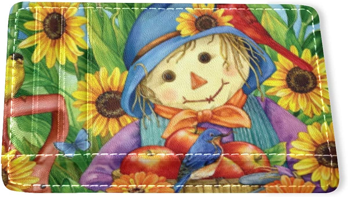 ALAZA Thanksgiving Max 49% OFF Scarecrow Apples Jacksonville Mall Birds Sunflowers Wallet Slim