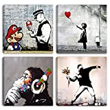 Degona Quadri Moderni Banksy 4 pz. cm 30x30 cad. Stampa su Tela Canvas Arredamento Arte Astratto XXL Arredo per Soggiorno Salotto Camera da Letto Cucina Ufficio Bar Ristorante