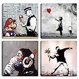 Degona Quadri Moderni Banksy 4 pz. cm 30x30 cad. Stampa su Tela...