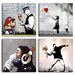 Degona - Cuadros modernos Banksy - 4 unidades de 30 x 30 cm cada una Impreso sobre lienzo, arte abstracto, XXL, para decorar el salón, dormitorio, cocina, oficina, bar o restaurante.