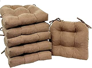 Aoleytech Set of 6 Microfiber Soft Plush Chair Pads Cushion for Kitchen Dining Chair (Brownstone)