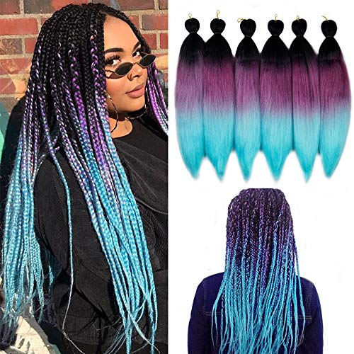 """Pre Stretched Ombre Braiding Hair Phoenixfly 26""""-6 Packs Easy Braid Professional Yaki Synthetic Hair for Fiber Corchet Braids(Black/Purple/Light Green)"""
