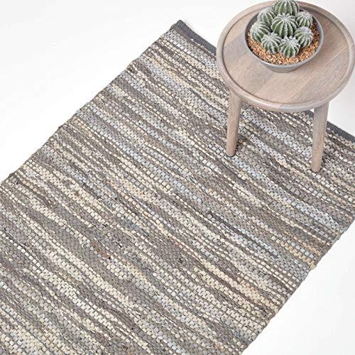 Homescapes Tepppich/Bettvorleger Denver aus 100% recyceltem Leder, 90 x 150 cm, grau