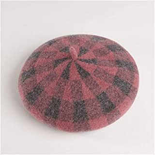 SHENTIANWEI Hat Female Autumn and Winter New Wool Plaid Beret Japanese Pumpkin hat British Retro Soft Sister Painter hat (Color : Pink)