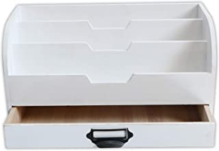 $25 » EMAISON 3 Tier Country Wooden Mail Organizer with Drawer, Rustic Office Desk File Sorter for Letters, Envelopes, Magazines, File Folders or Office Supplies (White, 13 x 6 x 7 Inch)