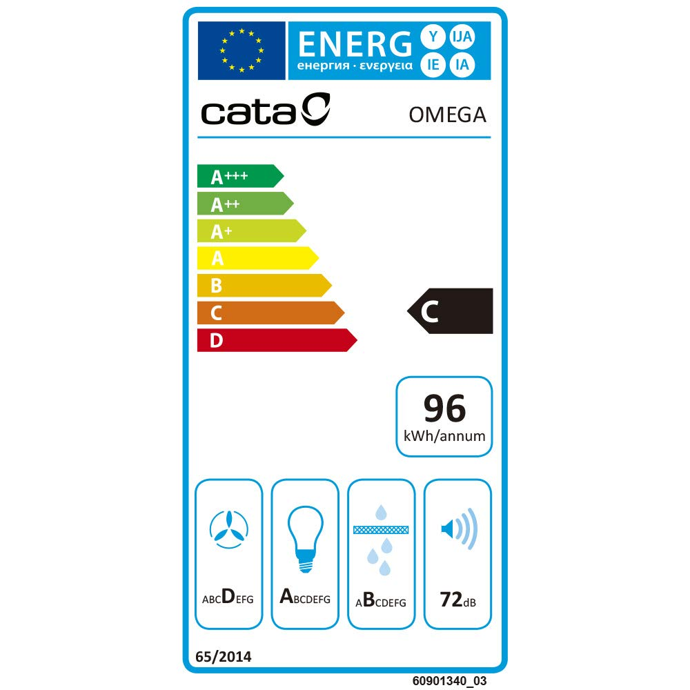CATA OMEGA 600 645 m³/h De pared Acero inoxidable C - Campana (645 m³/h, Canalizado/Recirculación, 71,8 dB): Amazon.es: Grandes electrodomésticos