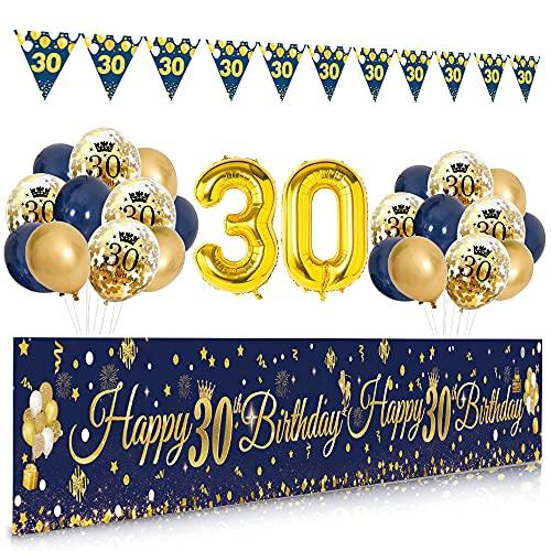 Decoration Anniversaire 30 ans Homme Femme, APERIL Banderole Joyeux anniversaire, Bleu Or Ballon Or Confettis Ballons Triangle Drapeau Guirlandes, Deco Anniversaire Party Banniere Photographie Fond