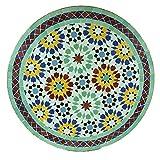 Casa Moro Mediterraner Gartentisch marokkanischer Mosaiktisch M60-6 Ankabut-Grün Ø 60cm rund mit Gestell H 73 cm Kunsthandwerk aus Marokko Dekorativer Balkontisch Bistrotisch Beistelltisch MT2044
