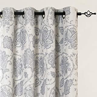 jinchan Blackout Curtains Floral Scroll Printed Linen Textured Curtains Grommet Top Ikat Flax Textured Medallion Design Jacobean Floral Curtains Retro Living Room Window Drapes Grey 63 inch 2 Panels