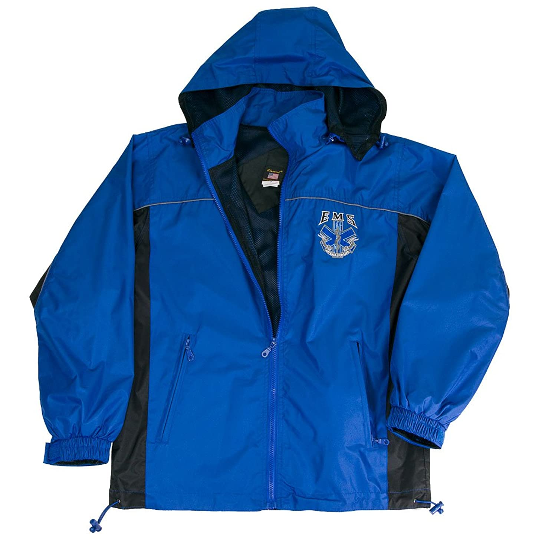 テレックス入学する好色なErazor Bits FF2059JKLT-M EMS Hooded Light Weight Rain Mesh Nylon Liner Resistant Windbreaker Jacket, Blue & Black - Medium