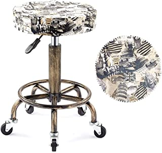 Round Pneumatic Rolling Bar Stool Swivel Salon Chair Drafting Stool Retro Beige Monroe Print Double Steel Ring Convex Stool with 5 Gravity Wheels (38cm) (Color : Beige)