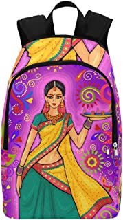 Design Indian Woman Diya Decoration Casual Daypack Travel Bag College School Backpack for Mens and Women