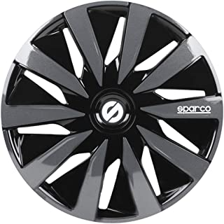 comprar comparacion SPARCO SPC1491BKGR Tapacubos Lazio, Negro/Gris, Set de 4, 14