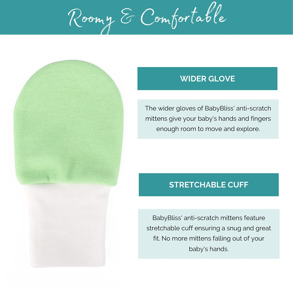 BABY BLISS Anti-Scratch Baby Mittens -Available in 3 Sizes - 7-Pair Set of Newborn Cotton Premie Mitts - Super Soft Gloves for Babies with Laundry Bag - M