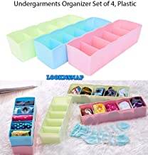 LookNSnap Multipurpose Plastic Storage Drawer Socks Undergarments Organizer Set of 4, Multicolor (Colors May Vary)