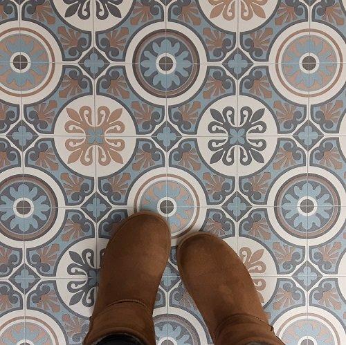 Moroccan Tile Design Cushion Vinyl Flooring Sheet Lino Kitchen Bathroom Floor - Tangier 05 - Multiple Sizes Available (1.5m x 2m)