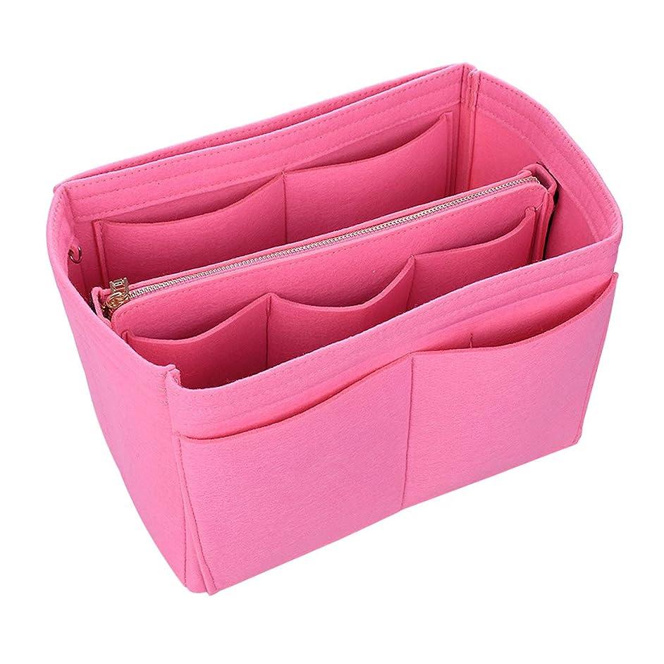 ファランクス量でディンカルビルJiyaru バッグ バッグインバッグ レディース 女性 おしゃれ フェルト インナーバッグ オーガナイザー 収納 化粧品バッグ 化粧ホルダー ホルダー 収納袋 バッグ イン バッグ 鍵ひも付き 軽量 13ポケット