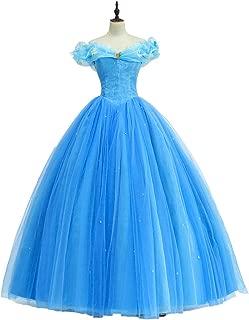 iCos Women Girl Princess Long Blue Layered Dress Halloween Costume Off Shoulder Prom Gown Wedding Dresses