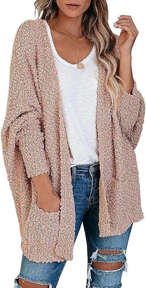 Yskkt Womens Open Front Fuzzy Cardigan Sweater Plus Size Batwing Sleeve Loose Knit Popcorn Cloak Outwear with Pockets
