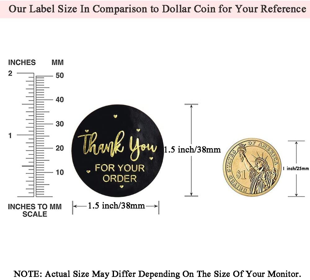 Sealing Thank You Stickers Roll Black+ Golden 1.5 Thank You Label Stickers Round Black Design Handmade Goods Thank You for Your Order 500 Business Labels per Roll Perfect for Small Business